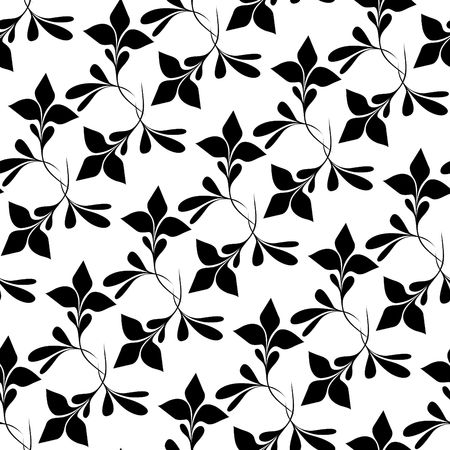 Seamless black and white floral wallpaper Illustration