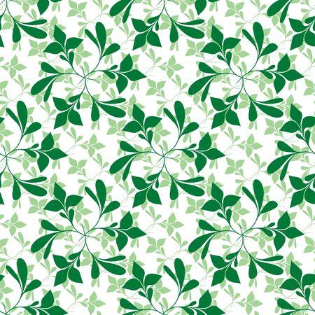 Seamless green plant wallpaper on white Vector