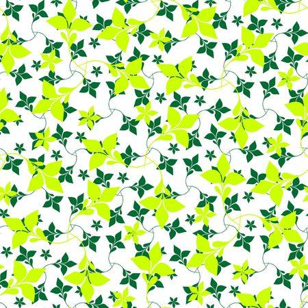 Seamless green plant wallpaper on white Stock Vector - 6708022