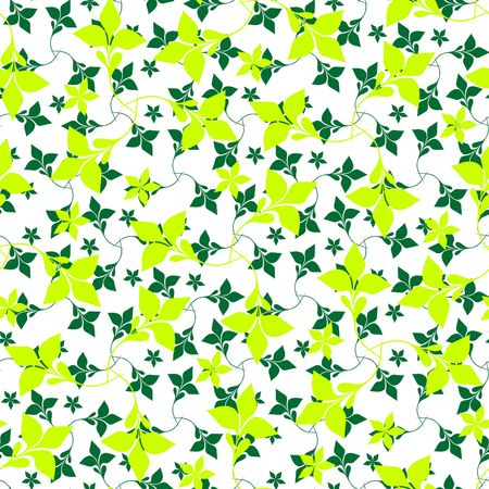 Seamless green plant wallpaper on white Stock Vector - 6708022