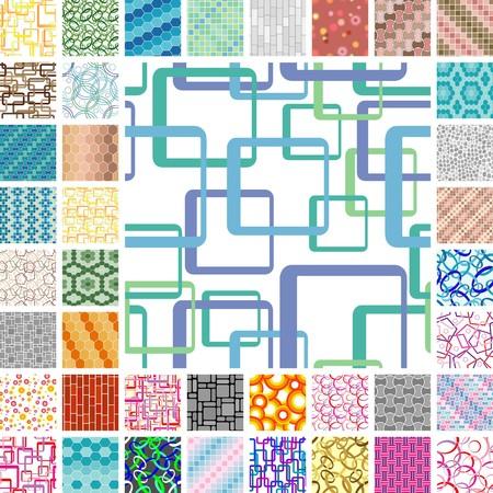 Many seamless tile vivid patterns Vector