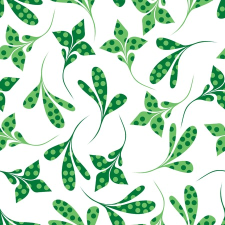 Seamless green plant wallpaper on white Illustration