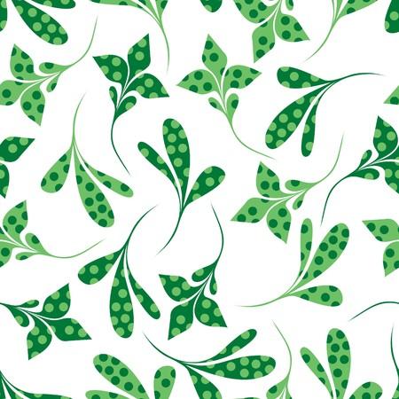 textile image: Seamless green plant wallpaper on white Illustration