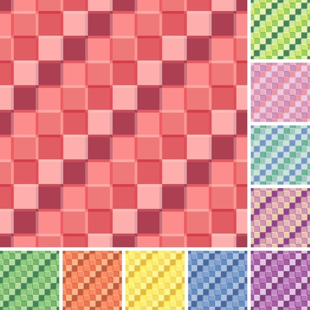 Seamless tile patterns. Set of multicolor versions Vector
