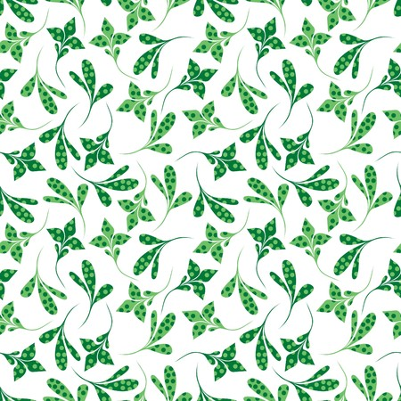 Seamless green plant wallpaper on white Stock Vector - 7025981