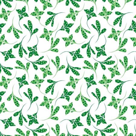 Seamless green plant wallpaper on white Stock Vector - 7025981
