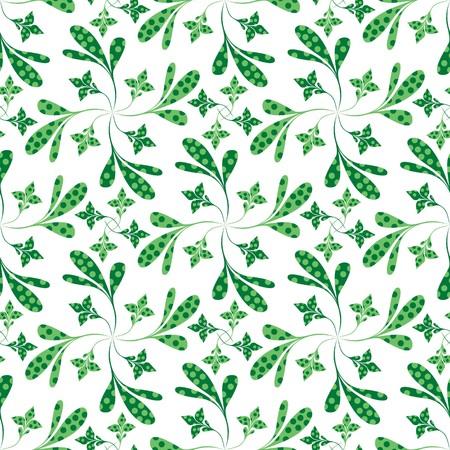 Seamless green plant wallpaper on white Stock Vector - 7025994