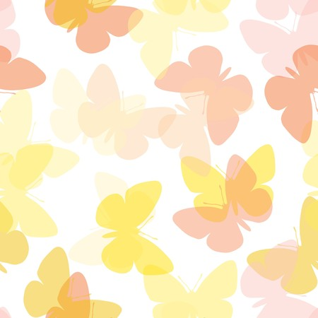 Light seamless butterfly background on white Illustration