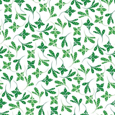 Seamless green plant wallpaper on white Stock Vector - 7046090