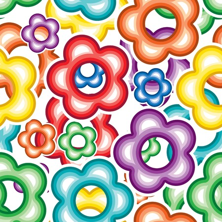 Vivid colorful repeating flower seamless background Vector