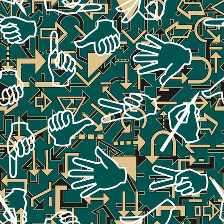 Seamless pattern with hand gestures and arrow signs Vector