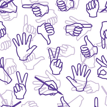 Seamless pattern with hand gestures Vector