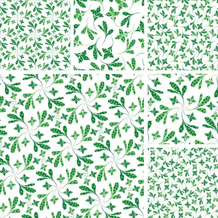 Set of seamless green plant wallpapers on white Vector