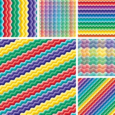 Set of seamless vivid rainbow wave backgrounds Vector