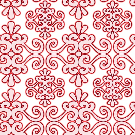 Seamless red swirl ornament pattern on white Vector