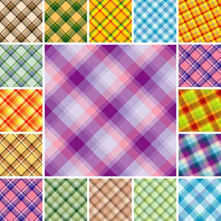 Big collection of seamless plaid patterns. Volume 10