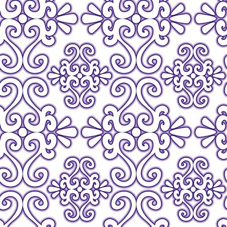 Seamless violet swirl ornament pattern on white Stock Vector - 9209557
