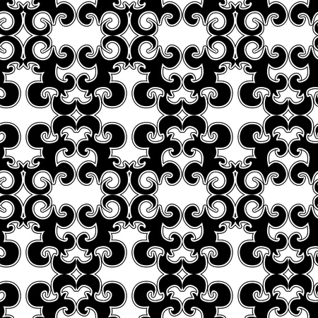 uncolored: Seamless ornament pattern with uncolored swirl elements