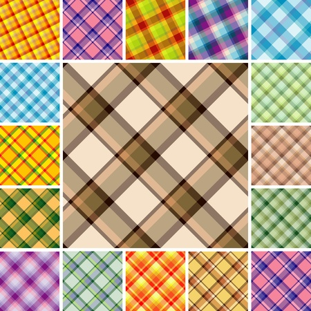 Big collection of seamless plaid patterns. Volume 11