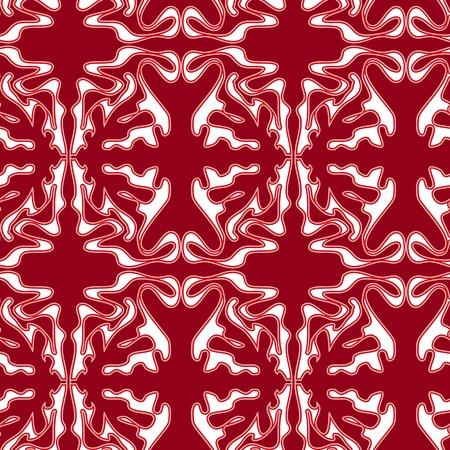red swirl: Modello ornamento senza soluzione di continuit� ricciolo rosso su bianco