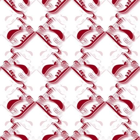garnet: Seamless garnet swirl ornament pattern on white