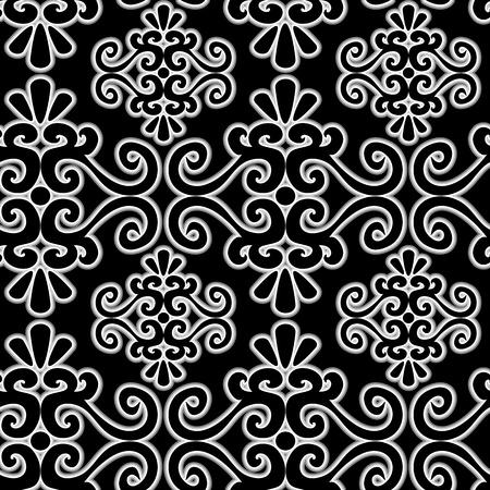 uncolored: Patr�n de ornamento transparente con elementos de remolino incoloros Vectores