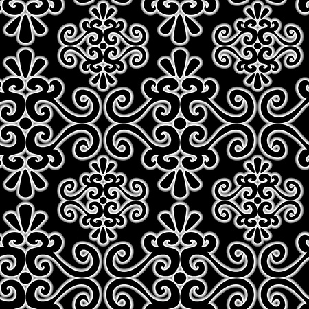 Seamless ornament pattern with uncolored swirl elements Vector