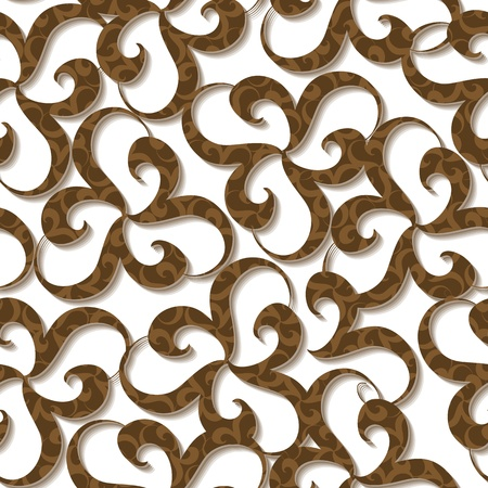 Seamless wallpaper with brown swirl ornament elements on white Stock Vector - 9450034