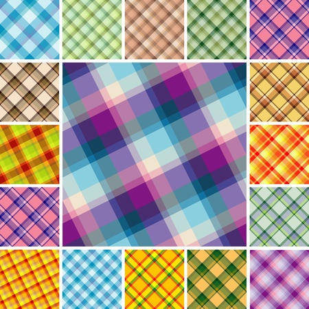 Big collection of seamless plaid patterns. Volume 12