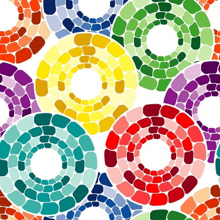 Seamless pattern with multicolor circle tiles on white Illustration