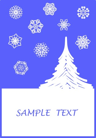 Surreal Christmas design with tree and snowflakes Stock Vector - 10901679