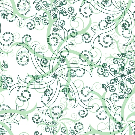 chaotical: Seamless wallpaper with green abstract swirl ornament elements Illustration