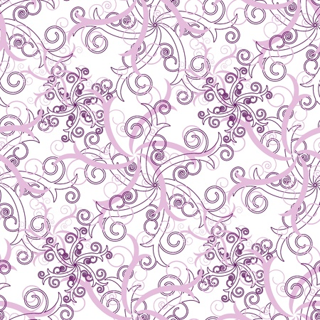Seamless wallpaper with pink abstract swirl ornament elements Vector