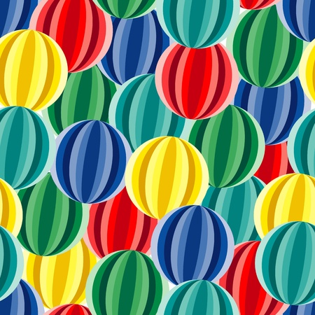 textile image: Retro seamless background with multicolor vivid balls Illustration