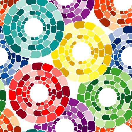 Seamless pattern with multicolor circle tiles on white Vector