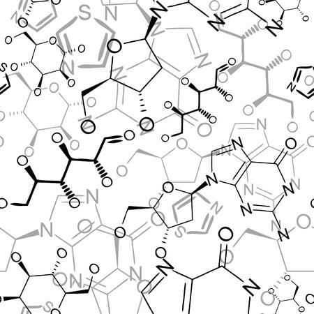 drug test: Seamlessly wallpaper with black chemistry formulas on white Illustration