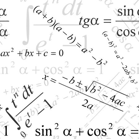 Seamlessly wallpaper with mathematical formulas on white Stock Vector - 15069506