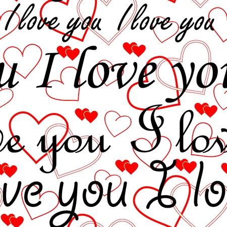 """te quiero: Perfectamente fondo de pantalla de San Valentín con corazones y la inscripción """"Te amo"""" Vectores"""