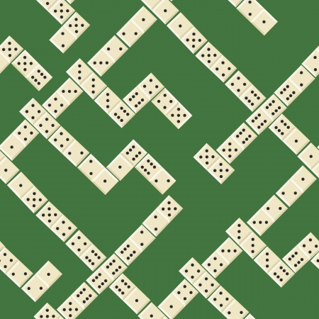 dominoes: Seamless game pattern with domino on green Illustration