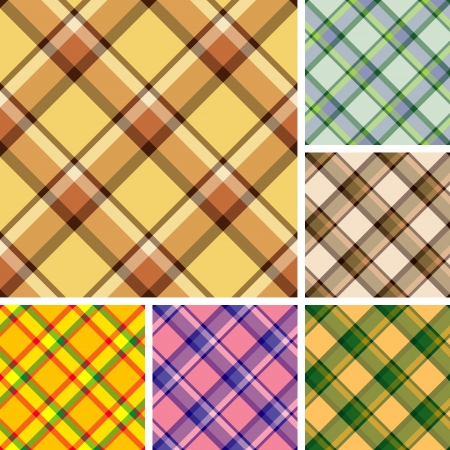 Collection of seamless plaid patterns. Volume 15 Vector