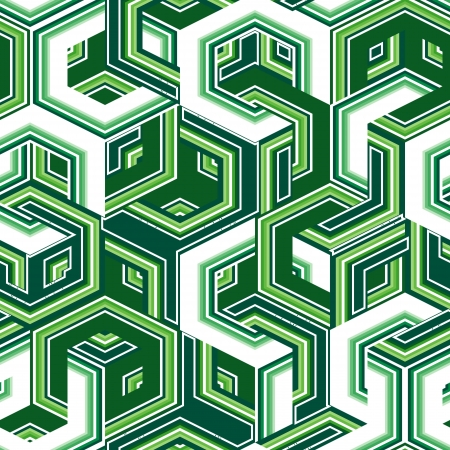 Retro seamless background with green hexagons Vector