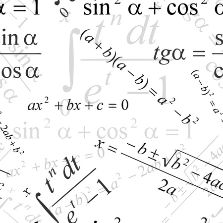 algebra: Seamlessly wallpaper with mathematical formulas on white