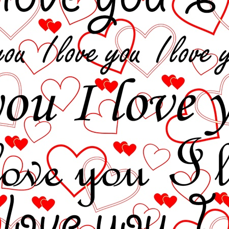 endearment: Seamlessly wallpaper valentine with hearts and superscription I love you