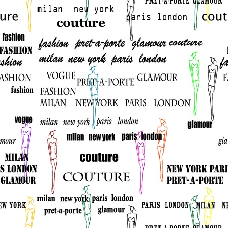 modish: Fashion poster as seamless pattern on white