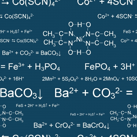 chemical formula: Seamless wallpaper with chemical formulas on blackboard Illustration