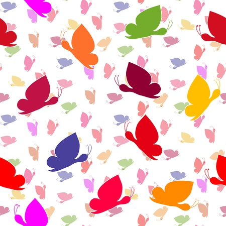 endearment: Seamless wallpaper with butterflies on white Illustration