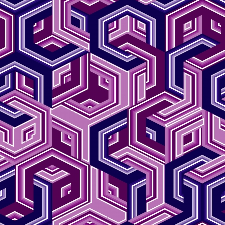 Retro seamless background with violet hexagons Vector