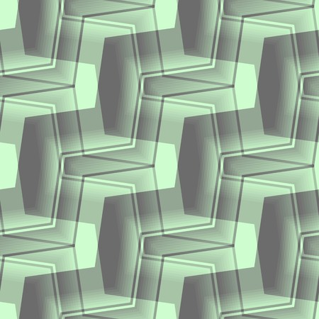 Seamless abstract pattern with green and black curved lines Vector