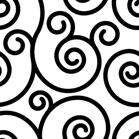 swirl patterns: Seamless pattern with black swirl ornament on white