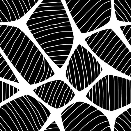Seamless spider web. Connected white lines on black background
